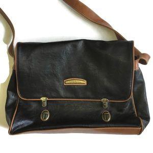Capezio Black and Tan Leather Briefcase